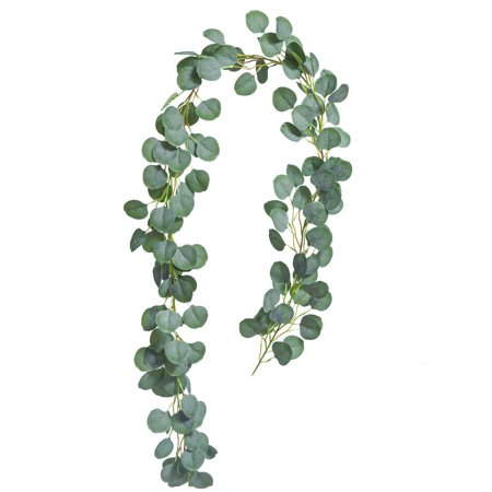 Coolmade Artificial Greenery Garland Faux Silk Eucalyptus Vines Wreath Wedding Backdrop Wall Decor Flower Arrangement (Eucalyptus Garland, 1) ()