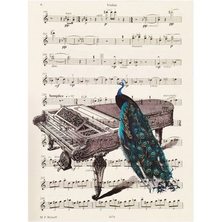 Art N Wordz Peacock Piano Original Music Sheet Pop Art Wall or Desk Art Print Poster