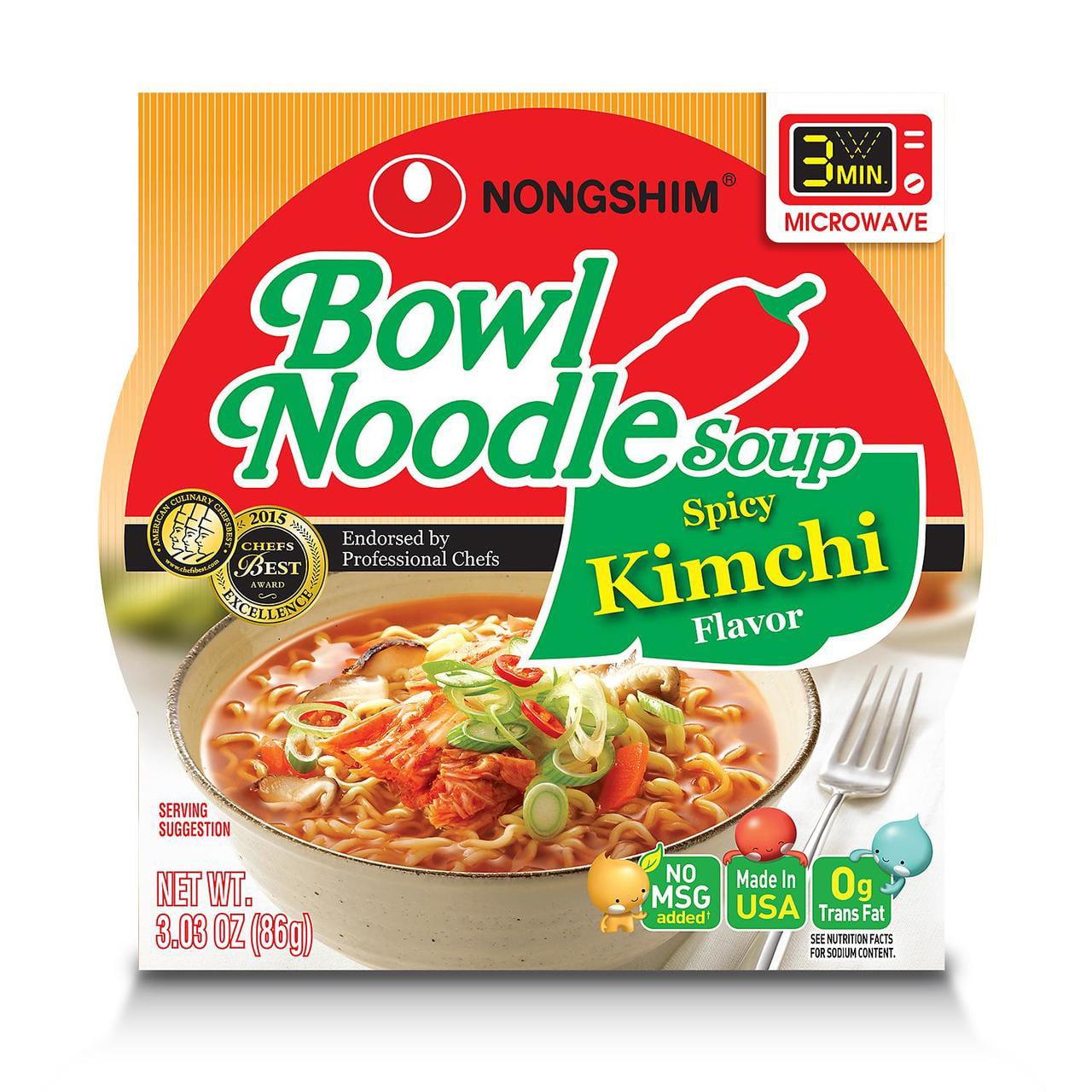 Nongshim Kimchi Bowl Noodle Soup (3.03 oz., 18 ct.) -Pack of 2