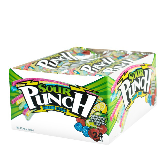 Sour Punch Straws, Rainbow, 2oz Tray (24 Pack)