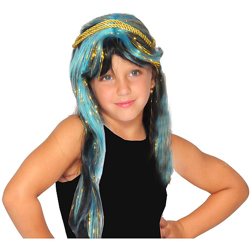 Monster High Blue and Gold Cleo De Nile Wig Child Girl Halloween Accessory