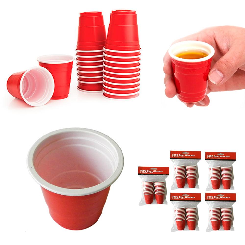 100 Mini Red Cups 2oz Plastic Disposable Jello Jelly Shot Glasses Party Fun by DOLLAR EMPIRE
