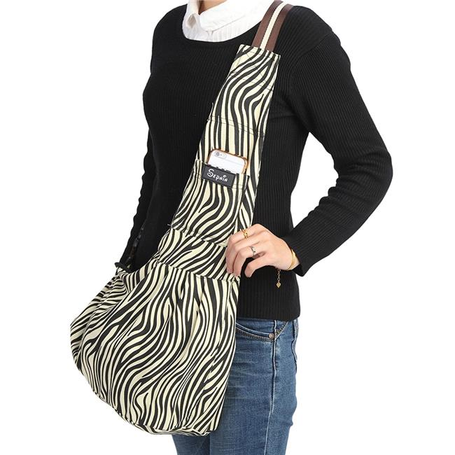 Sepnine Zebra Strip L Canvas Pet Carrier Shoulder Bag with Extra Pocket for Cat, Dog & Small Animals, Large