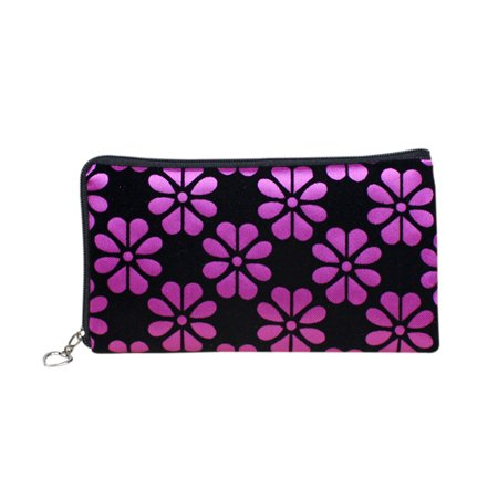 Women Floral Printing Wallet Four Leaf Clover Coins Purse Corduroy Handbag Phone Bag with Zipper Closure