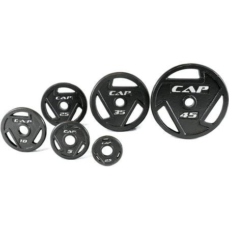 180 Cap Set (CAP Barbell Black Olympic Grip Plate, Single, 2.5-45 lb)