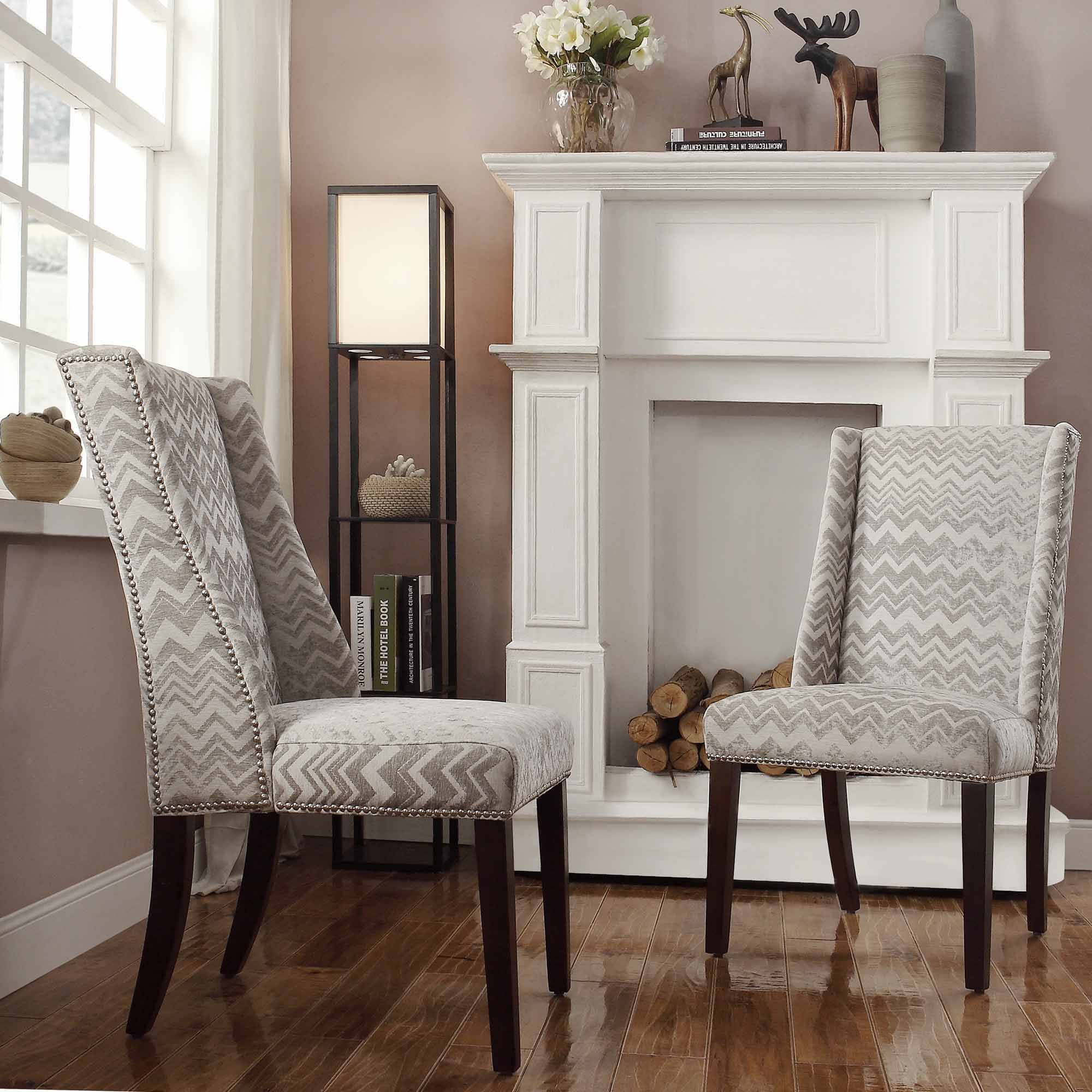 Ayana Print Wingback Nailhead Chair, Set of 2, Multiple Patterns