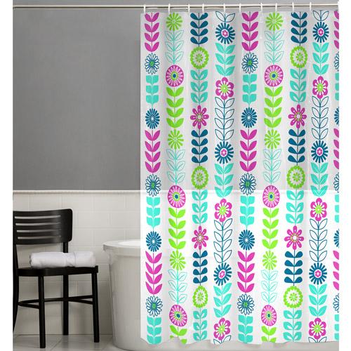 Maytex Floral 13-Piece PEVA Shower Curtain Set