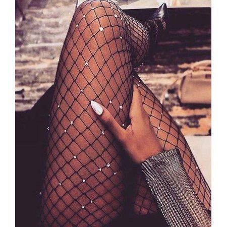 Stylish Women Crystal Rhinestone Fishnet Big Fish Net Tights Pantyhose Elastic Stockings Blcak](Fish Net Panty Hose)