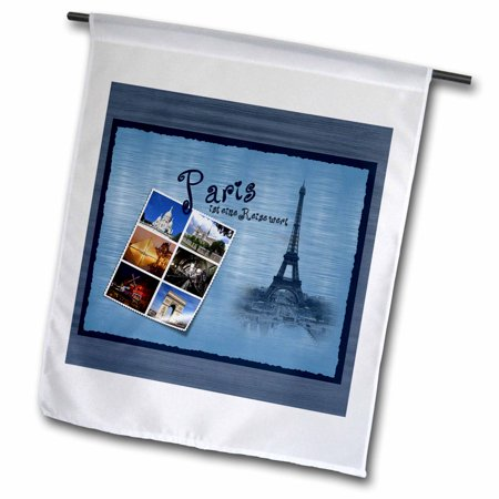 Image of 3dRose Paris Highlights in Photo Montage with Eiffel Tower - Garden Flag, 12 by 18-inch