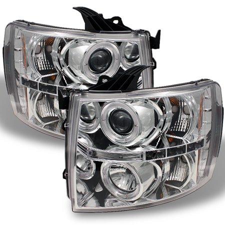 Fits 07-13 Silverado Pickup Chrome Clear Dual Halo Projector LED Headlights Set Chrome Clear Halo Headlights