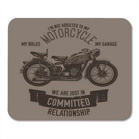SIDONKU Vintage Hand Drawn Motorcycle Saying Biker Garage Ink Lettering Logotype Old Parts Mousepad Mouse Pad Mouse Mat 9x10 inch