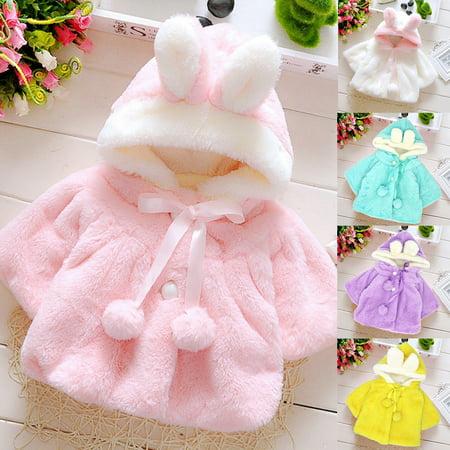 Purple Winter Coat - Girl12Queen Baby Girls Infant Rabbit Ear Hoodie Warm Coat Pom Pom Bowknot Winter Clothes