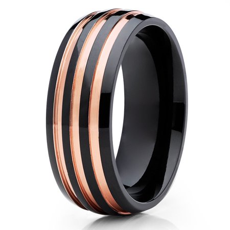 Tungsten Wedding Band 18K Rose Gold Tungsten Ring Black Tungsten Band Dome Mens Ring Womens Comfort Fit Dome Rose Gold Ring