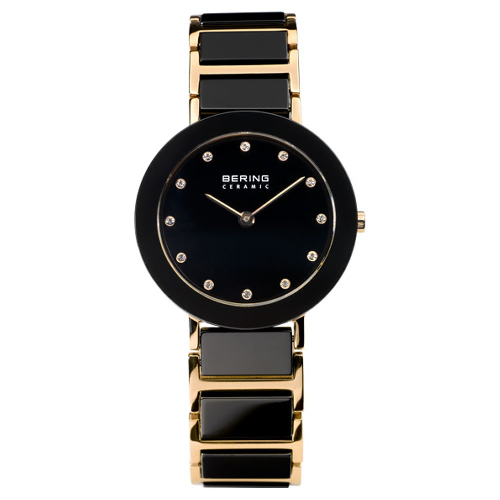 Bering Women's 29mm Two Tone Ceramic Band & Case Sapphire Crystal Quartz Black Dial Analog Watch 11429-746 by Bering