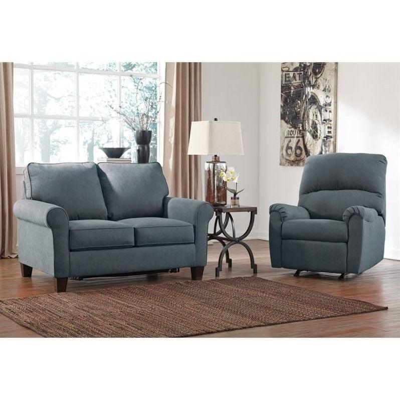 Ashley Zeth 2 Piece Fabric Twin Size Sleeper Sofa Set in Denim Walmart