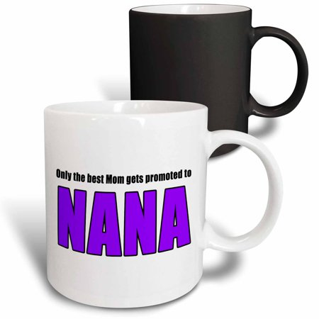 3dRose Only The Best Mom Gets Promoted To Nana Purple - Magic Transforming Mug,