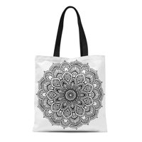 60b908dda Product Image SIDONKU Canvas Tote Bag Mandalas for Coloring Book Round  Ornaments Unusual Flower Shape Reusable Shoulder Grocery