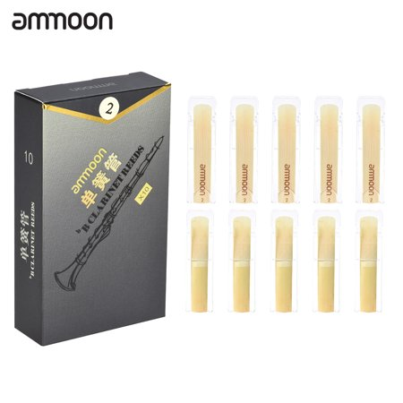 ammoon High Grade Bb Clarinet Bamboo Reeds Strength 2.0, 10pcs/