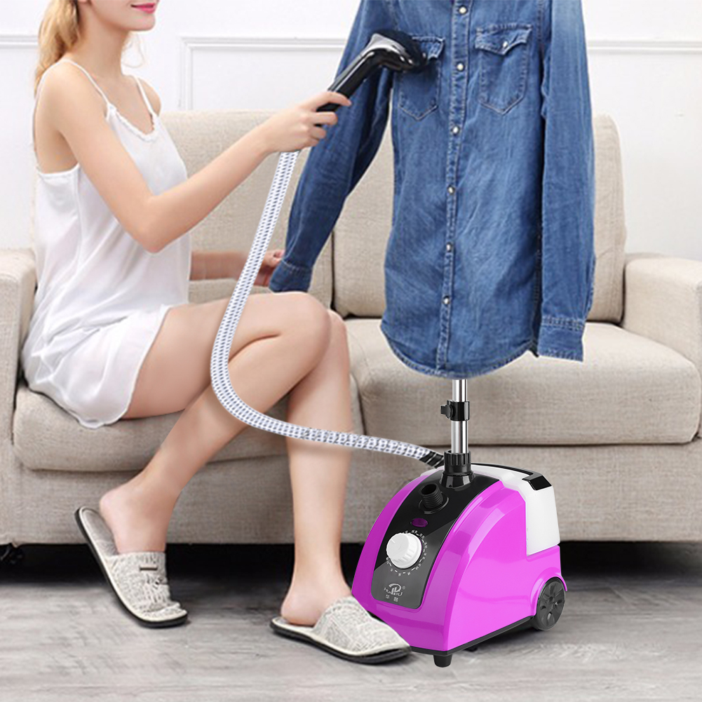 Qiilu Clothes Steamer Portable 1700W Garment Clothes Standing Fabric Steamer With Garment Hanger And Steam Pipe For Home Bedroom Clothes