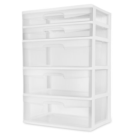 chest with drawers sterilite 5 drawer wide tower white walmartcom