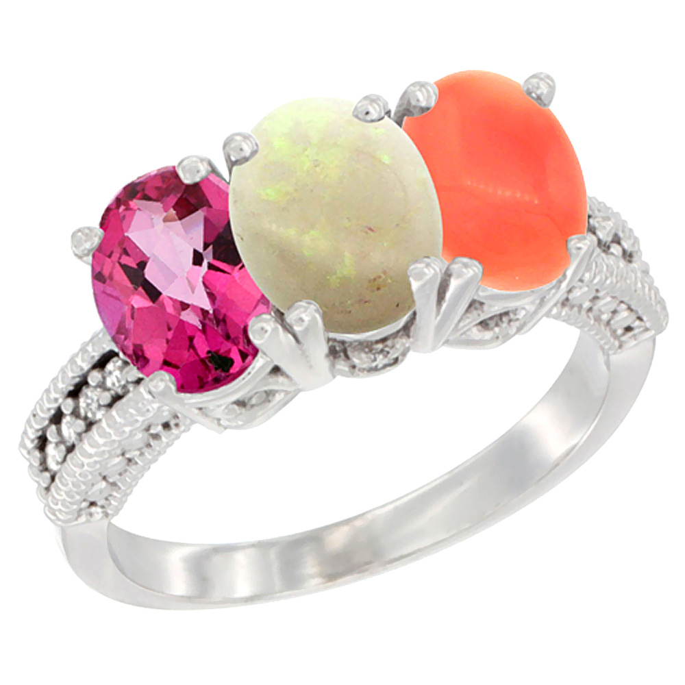 10K White Gold Natural Pink Topaz, Opal & Coral Ring 3-Stone Oval 7x5 mm Diamond Accent, sizes 5 10 by WorldJewels