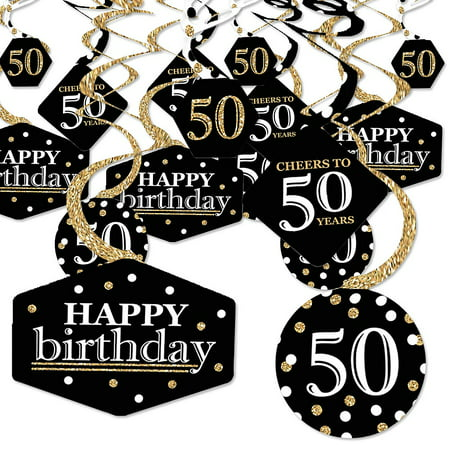 Adult 50th Birthday - Gold - Birthday Party Hanging Decor - Party Decoration Swirls - Set of 40