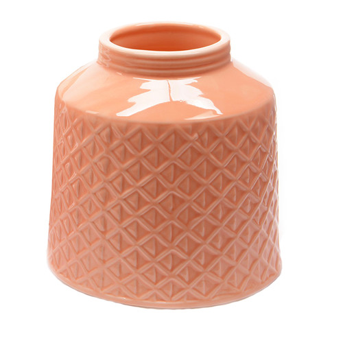 "5"" Basic Luxury Salmon Pink Porcelain Vase with Etched Diamond Candy Design"