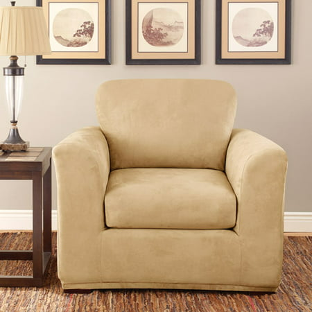sure fit stretch suede 2 piece chair slipcover