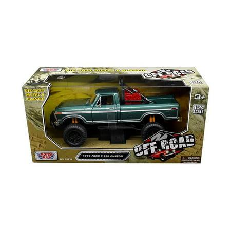 Off Road Truck - 1979 Ford F-150 Custom Pickup Truck Off Road Green 1/24 Diecast Model by Motormax