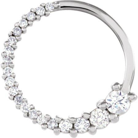 - 14k White Gold 1/5 Ct Diamond Circle Journey Pendant