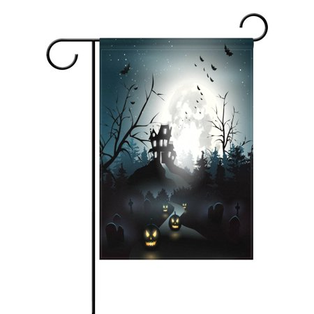 POPCreation Scary House Halloween Night Garden Flag Pumpkin Full Moon Bats Outdoor Flag Home Party 28x40 inches](Is Six Flags Halloween Scary)