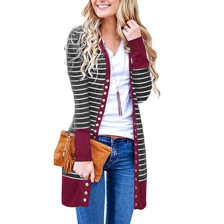 - Women's V Neck Striped Long Sleeve Snap Button Down Ribbed Contrast Color Cardigan
