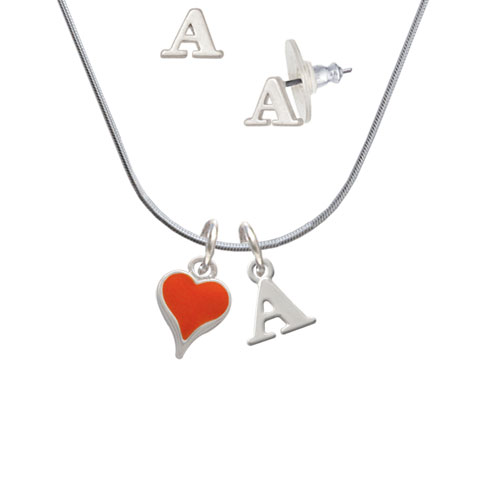Small Long Orange Heart - A Initial Charm Necklace and Stud Earrings Jewelry Set