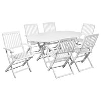 7 Piece Outdoor Dining Set Acacia Wood White