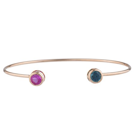 Pink Sapphire & London Blue Topaz Round Bezel Bangle Bracelet 14Kt Rose Gold Plated Over .925 Sterling Silver Blue Sapphire Topaz Bracelet