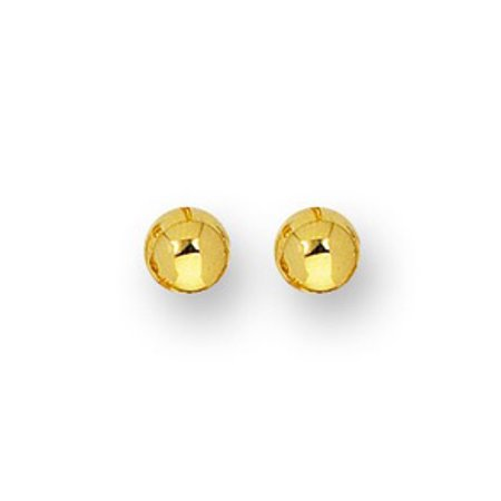 14 Karat Yellow Gold Polish Finished 3mm Ball Stud Earrings With Friction Backs