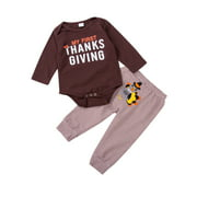 Canis Thanksgiving Clothes Infant Baby Boy Romper Bodysuit +Pants Outfit Costumes