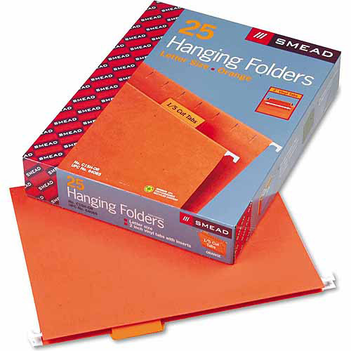 Smead Hanging File Folders, 1/5 Tab, 11 Point Stock, Letter, Orange, 25/Box
