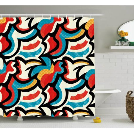Psychedelic Shower Curtain Graffiti Inspired Street Art Style Pattern Retro Modern Teen Room Urban