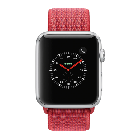 Apple Watch Series 3, 42MM, GPS, Silver Aluminum Case, Red Sport Loop (Non-Retail Packaging)