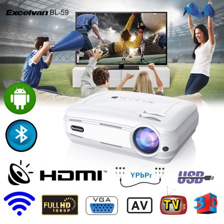 Excelvan BL-59 Android 6.0.1 3200 Lumens 1280*768 200 Inch Multimedia Projector Support Red&Blue 3D 1080P WiFi Bluetooth 1G+8G ATV For Home Theater Game Outdoor