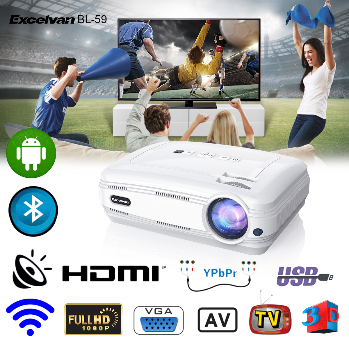 Excelvan BL-59 Android 6.0.1 3200 Lumens 1280*768 200 Inch Multimedia Projector Support Red&Blue 3D 1080P WiFi Bluetooth 1G+8G ATV For Home Theater Game Outdoor Movie