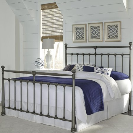 Kensington Metal Headboard Footboard With Stately Posts And Detailed Castings Finish Vintage Silver Size King