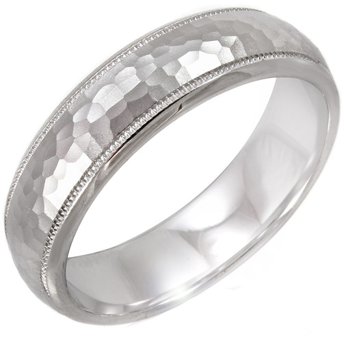 Men's Hammered Finish Sterling Silver Ring, 6mm