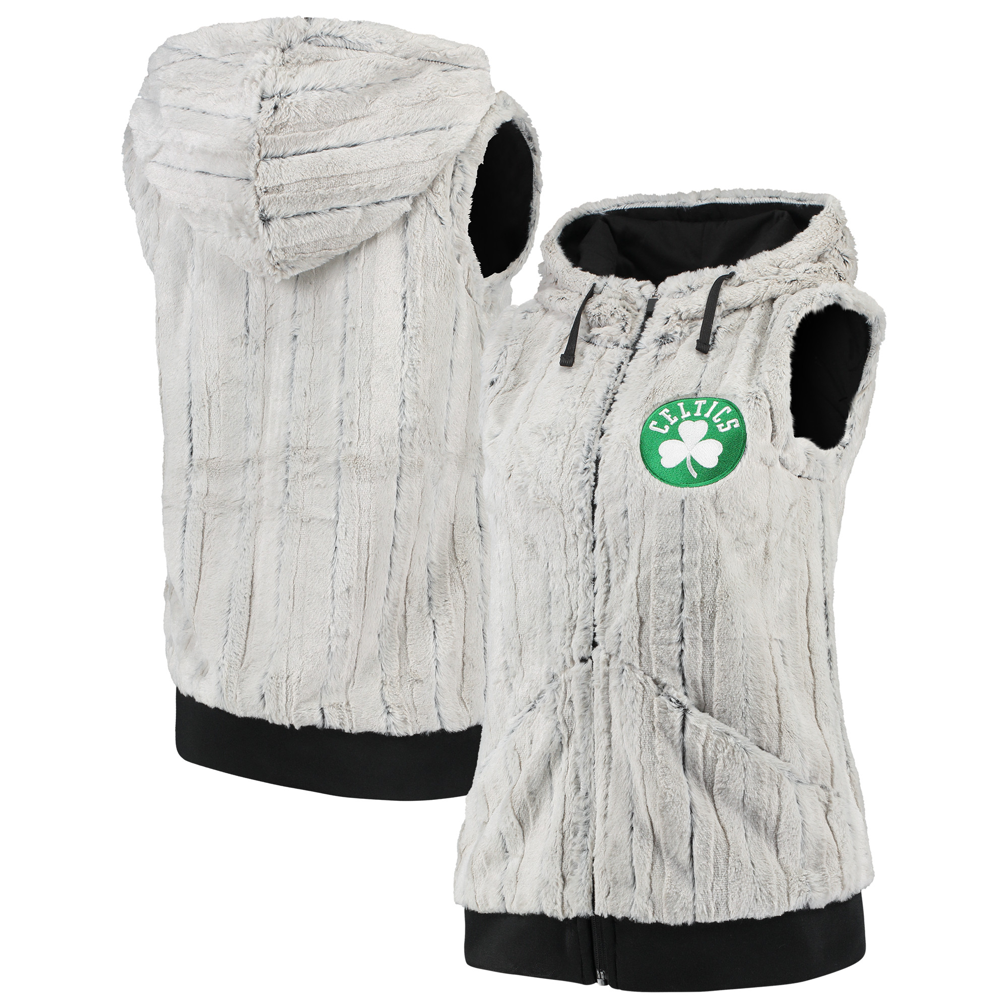 Boston Celtics Antigua Women's Rant Hooded Full-Zip Vest - Silver/Black
