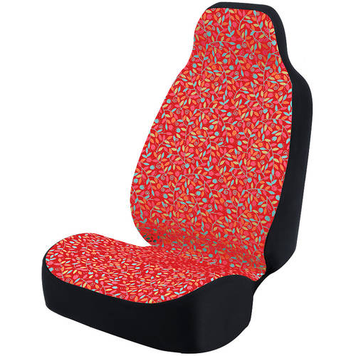 Coverking Universal Seat Cover Fashion Print, Ultra Suede, Vivid Flowers Pink and Blue and Red Background with Black Interlock Backing