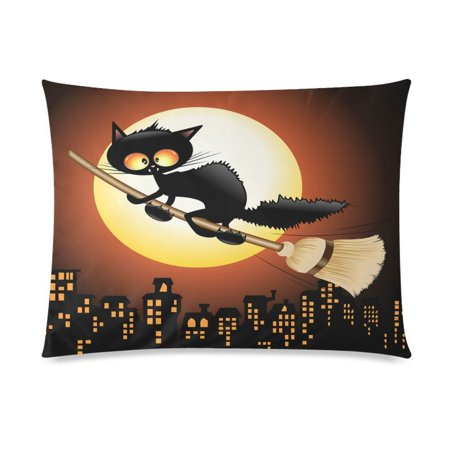 ZKGK Happy Halloween Cute Black Cat Lovely Moon Cartoon Home Decor Pillowcase 20 x 30 Inches,Night Moon Cat Flying on Witch Broom Pillow Cover Case Shams Decorative](Cute Halloween Witch Clip Art)