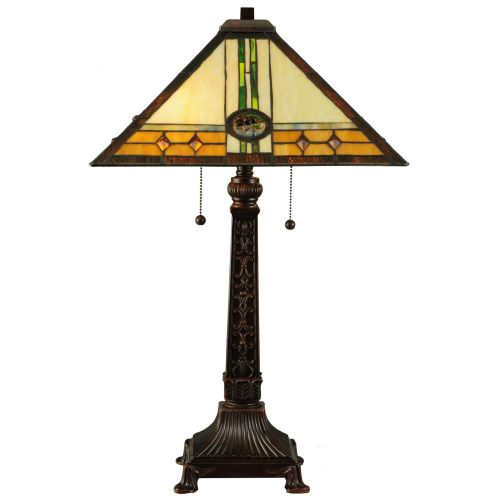 """Meyda Tiffany 138771 Carlsbad Mission 2 Light 26.5"""" Tall Hand-Crafted Table Lamp with Stained Glass by Meyda Tiffany"""