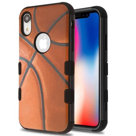 - Apple iPhone XR (6.1 inch) (2018 Model) Phone Case Tuff Hybrid Shockproof Armor Impact Rubber Dual Layer Hard Soft TPU Protective Hard Case Cover Basketball Sport Phone Case for Apple iPhone Xr (6.1