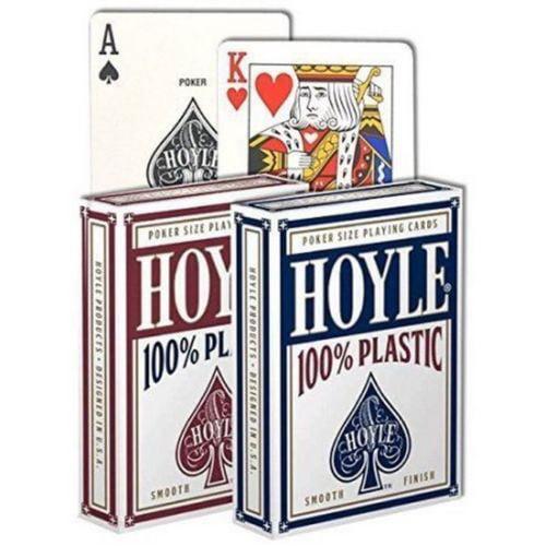2 Decks Hoyle 100% Plastic Standard Poker Playing Cards Red & Blue New Decks by USPCC